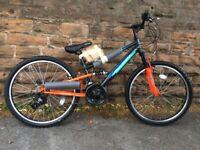 NEW Falcon Neutron Boys 24 Inch Full Suspension Mountain Bike Grey Black/Orange RRP £265