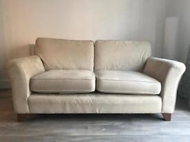 Cream Ivory Suede M&S Sofa - delivery possible