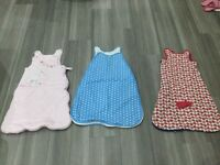 Selection of grobags and sleeping bags. 0-6 months, 6-12, 6-18 and 18-36