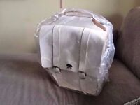 Italian Leather double panniers - unwanted present - white - brand new and unused