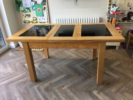 Solid Oak and Black Granite extendable dining table