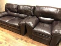 Brown electric leather recliner 2 seater sofa and chair