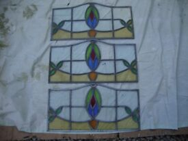 Three Vintage Stained Glass Panels.Approx 22 x 11.5 Inches.