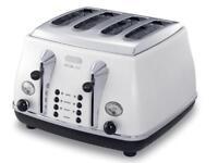 Brand new delonghi micalite 4 slice toaster white and chrome