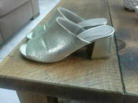 Marks & Spencers block heel Gold mules Size 5 1/2