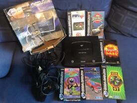 Sega Saturn console & games