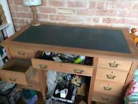 Sandblasted wooden desk