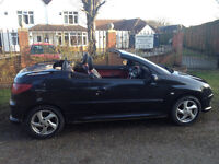 PEUGEOT 206 1.6 CONVERTIBLE-MOT FULL SERVICE HISTORY-LEATHER-ALLOYS-AIR CON-CD-PLAYER-WE CAN DELIVER