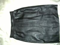 REAL LEATHER BLACK SKIRT 12/14