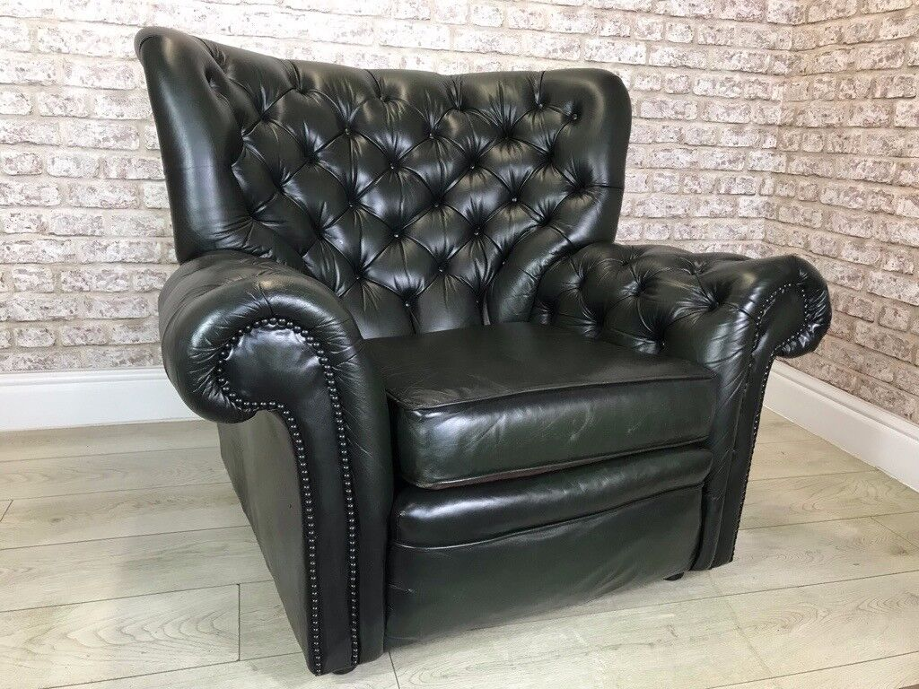 Antique Green Chesterfield Armchair In North Shields Tyne And