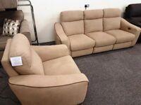 Designer Brown Fabric Electric Recliner 3 Seater Sofa & Armchair Can/Del View Hucknall Nottingham