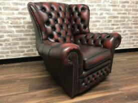 Oxblood Leather Chesterfield Spoon Chair