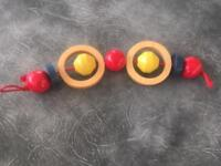 Vintage wooden bead pram string