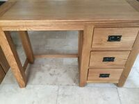 New Canterbury Oak Dressing Table with 3 drawers