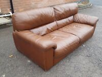 Lovely used brown leather 3 seater sofa. can deliver