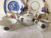 1920s Art Deco Vintage Phoenix Bone China Tea For One Set Teapot Milk Jug Sugar Bowl