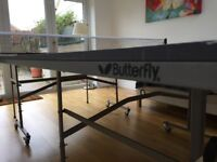 Full size Butterfly indoor table tennis table complete with net & bats. Immaculate condition