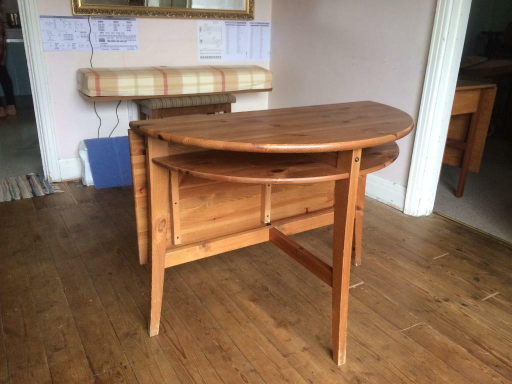 Ikea laurila solid pine wood drop leaf small dining table for Drop leaf dining table