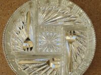 Ors D'oeuvre dish, silver plated tray, 5 cut glass dishes + 3 silver plated spoons