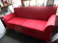 Large Red Fabric Sofa - £60.00 ONO