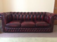Oxblood Chesterfield Three Seater Sofa & Matching Club Chair