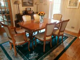 Solid Yew Dining table and 6 chairs