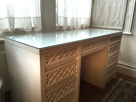 Details about Charming vintage desk with 7 drawers painted in white chalk paint