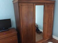 Italian rose wood wardrobe, 3 drawer chest of drawers and 2 bed side cabinets