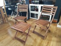 Wood Folding garden chairs and table.