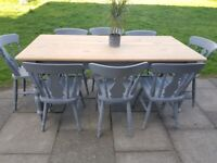 LOCAL DELIVERY Farmhouse pine DINING SET 6ft Table + 8 Chairs GREY shabby chic
