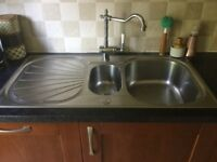 Franke 1.5 bowl stainless steel sink with drainer