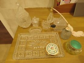 Glass vanity set with additional items REDUCED
