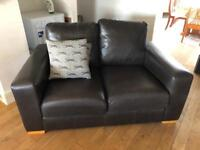 2 x Real Leather 2 seater Sofas