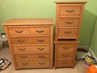 Chest of drawers and bed side tables