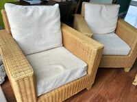 Wicker furniture set (conservatory/garden) 2 seater sofa, x2 chairs & coffee table