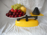 Vintage Harper Kitchen Scales with complete set of weights.