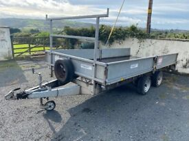 """14' x 6'6"""" HUDSON Flat bed trailer WITH tail ramp. 3500KG not IFOR WILLIAMS, DALE, KANE, NUGENT"""