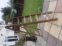Wooden folding step ladders with metal hinges and fixings 150 cm high
