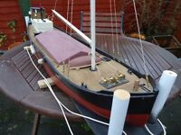 Model boat. Coastal Puffer or barge. 1.2 m long, complete and ready to run.