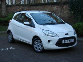 FROM £77PM £0 DEPOSIT!!! 2012 WHITE FORD KA 1.2 EDGE 3dr (start/stop), 1 LADY OWNER, AA WARRANTY
