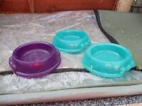 Rabbit/guinea pig plastic feed bowls.