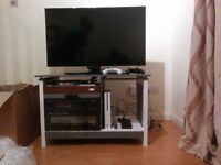 Free Upcycled Hifi and TV cabinet grey and white painted