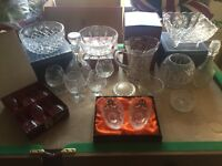 Various crystal glass items
