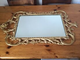 Vintage / Shabby chic Gold Mirror with gilt metal frame