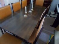 Refectory Dining Table, oak and 8 chairs including 2 carvers
