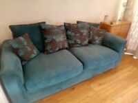 Teal 4 seater sofa, swivel chair and footstools
