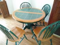 Green/Brown Wooden table with 4 matching chairs