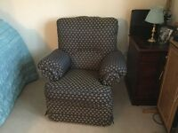 Recliner chair - blue & gold excellent condition