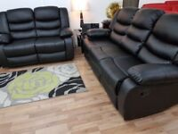 3+2 BLACK LEATHER RECLINER SOFA SET