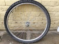 """26"""" mountain bike front wheel with tube + tyre, no punctures"""